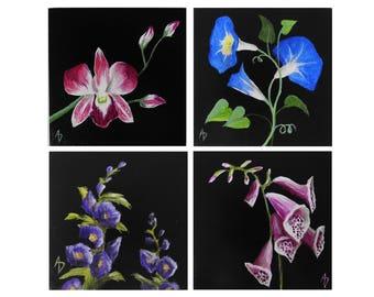 Mini Flower Paintings SET OF 4 - Morning Glory, Hollyhock, Foxglove, Orchid - original mini art - tiny painting - realistic botanical art