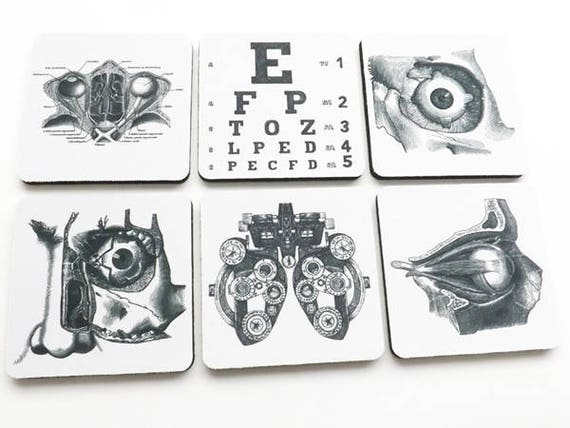 Eye Doctor Drink Coasters optometrist ophthalmologist anatomy optical gift set  graduation party favors stocking stuffers black white