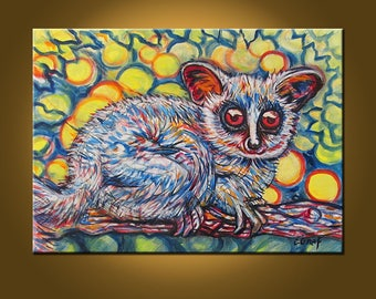 Spy Bush Baby -- 16 x 22 inch Original Oil Painting by Elizabeth Graf -- Art Painting, Art & Collectibles