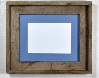 "5"" x 7"" light blue mat in 8x10 frame from rustic reclaimed wood complete with glass,mat,backing and hardware free shipping"