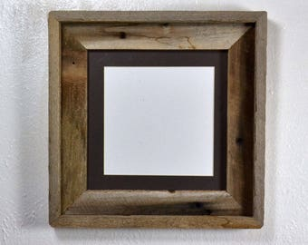 Rustic frame 8x8 with charcoal mat for 6x6 photo complete 20 mat colors to choose from free US shipping