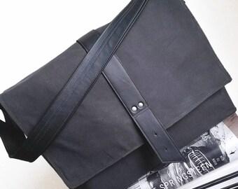 Waxed Canvas Mens Bag, Mens Messenger Bag for School, Messenger Bag for Work, Crossbody Laptop Bag - The Sloane in Charcoal Grey and Black