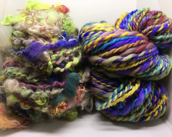 Handspun yarn bundle, natural, bundle of two mix n mathch, yarn stash, be creatve