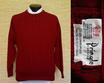 Vintage 80s Mens Pringle Sweater, 1980s Cable Knit Pullover Lambswool Burgundy Crewneck, Made in Scotland, Size Medium to Large