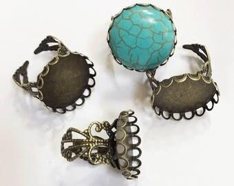 Bulk 100 pcs  antique brass iron filigree ring setting, bulk ring setting for 20mm Cabochon