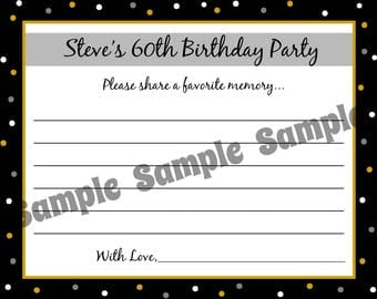 60 Birthday Advice Cards  -  ANY AGE  - Any Colors -  40th 50th 60th 75th Birthday, etc.