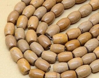 "75% OFF CLEARANCE SALE Barrel Shape  Natural Yellow jasper gemstone beads, 15"" strand"