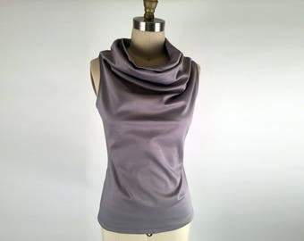 Alena Designs - Funnel - Funnel Neck Sleeveless Silver Grey Ponte Knit (Viscose Nylon Lycra) Top