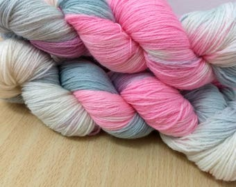 Hey Gal Sock Yarn Super wash Merino/Nylon Sock Yarn Hand Dyed Sock Yarn Pink, Pale Blue Gray and Natural Sock Yarn