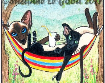 ACEO original Siamese Cat Oriental Black kitten painting, watercolour, acrylic, hammock, summer, trees,  recycled paper,by Suzanne Le Good