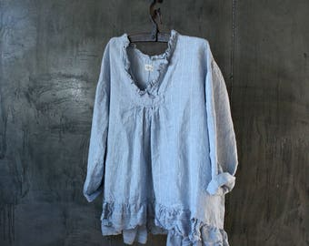 Pale Blue Striped European Linen Oversized Top