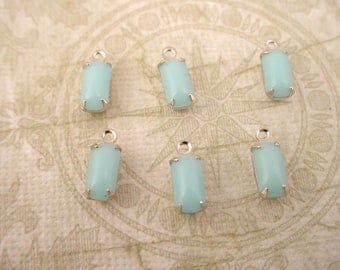 6 Vintage Calcedon light  Blue Glass Octagon Drops 8x4 silver setting 1 ring