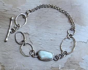 Oxidized Sterling Silver Larimar Bracelet - Dark Silver Link Bracelet - Free Form Larimar Bezel Bracelet - Silver Rollo Bracelet