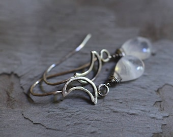 Sterling Silver Moon Earrings - Rainbow Moonstone Earrings - Metalwork Earrings  - Simple Earrings - Crescent Moon Earrings