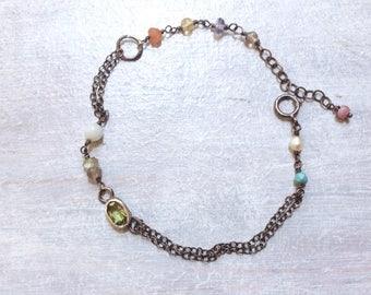 Peridot Bracelet -Olive Green Bracelet - Chartreuse Bracelet - August Bracelet - Minimalist Bracelet - Oxidized Sterling Silver Bracelet