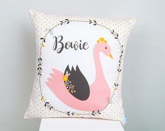 Girls Swan Blush Pink & Mustard Personalised Bedroom or Nursery Cushion