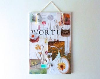 WORTH original paper collage, mixed media, ready to hang art