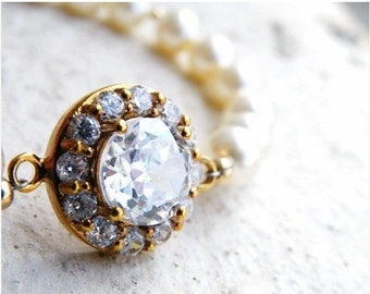 Summer Sale Bridal CZ Bracelet Ivory Swarovki Pearl Gold CNB3