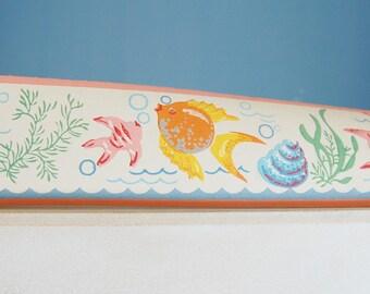Vintage 1950s Fish Wall Paper Trim Fish Trimz 2009 Colorful Tropical Shells Seaweed Retro Bathroom