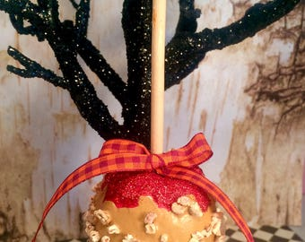 caramel apple with nuts candy apple halloween ornament fall decor carnival food circus theme party decor fake food