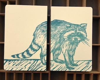 letterpress Raccoon handmade notebook