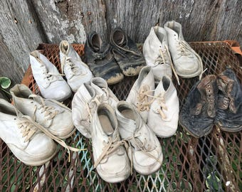 Lot of Eight Pairs of Antique/Vintage Well Loved Baby Shoes