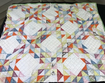 Reserve for nickysbell Vintage Hand Quilted Ocean Waves Cutter Quilt Piece