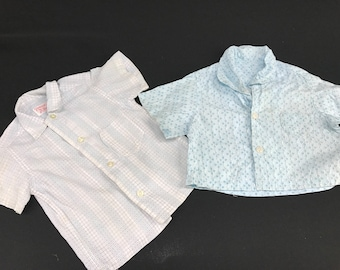 Pair of Vintage Blue & White Baby Boy's Short Sleeve Shirts