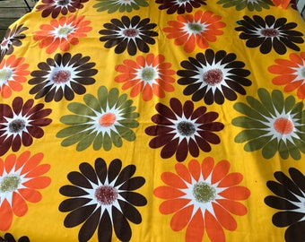 3 Yards of Vintage 1970's Era Yellow with Orange, Brown & Avocado Mod Daisies Print Heavy Cotton Fabric