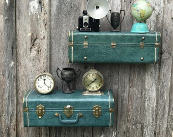 Vintage 1950's Blue Marbelized Look Metal Suitcase Upcycled or Repurposed into a Pair of Wall Shelves