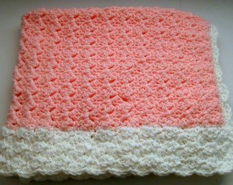 Crocheted Pink and White Baby Blanket Bulky Soft Yarn Reversible
