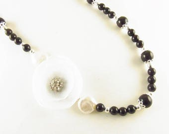 Tuxedo Necklace Black Onyx & Coin Pearls