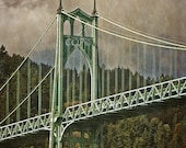St Johns Bridge, 11 x14 Photograh, Portland Decor, Bridge Photography Wall Print Saint Johns Bridge Vertical Photo Art Print Green And Brown
