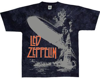 Led Zeppelin Swan Song Tie Dye  Short Sleeve Shirt  Size Large    rock and roll Robert Plant Jimmy Page