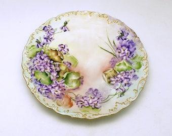 Antique Limoges France Violets T V Hand Painted Plate