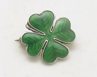 Vintage Shamrock Brooch Sterling Enamel Good Luck St Patrick's Day Jewelry