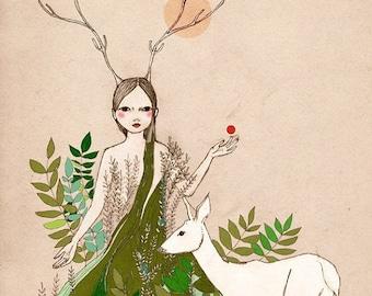 Sale Deluxe Edition Print Original illustration Woodland  deer girl Mori Girl