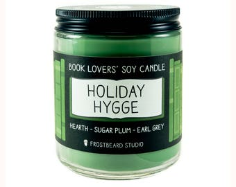 Holiday Hygge - 8 oz Book Lovers' Soy Candle - Book Candle -  Book Lover Gift - Scented Soy Candle - Frostbeard Studio