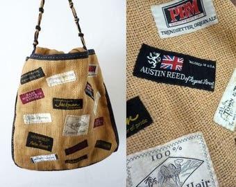 Burlap Tote Bag Vintage Labels Applique Purse Restort Boutique Handbag