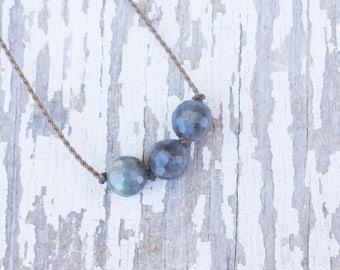 labradorite / big triple knotted / handspun ROPE necklace / waterproof / kid-proof / life-proof / bohemian / minimalist beauty /