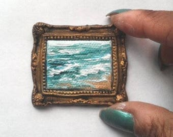 1:6 Scale Beach Oil Painting, Framed READY to SHIP
