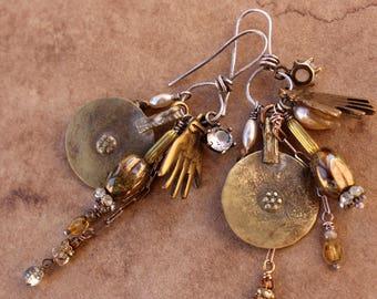 Amulet Earrings + Designer Jewelry + Vintage + Rhinestone + Sterling + Brass + OOAK + Artisan + Dawn Wilson Enoch