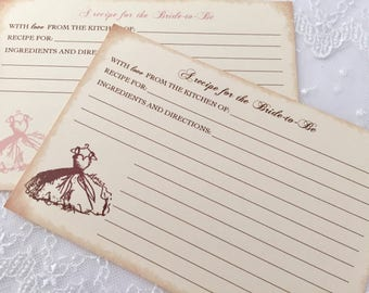 Bridal Shower Recipe Cards Bride to Be Set of 10