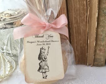Alice in Wonderland Baby Shower Cellophane Treat Bags, Cookie Favor Bags, Cello Favor Bags, Tags, Ribbon, Set of 10