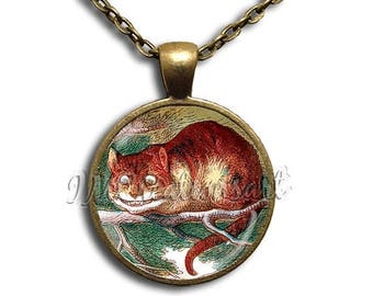 25% OFF - Alice In Wonderland Cheshire the Cat - Round Glass Dome Pendant or with Necklace IMCreations -  AW102