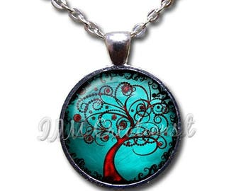 20% OFF - Tree of Life Turquoise Red Glass Dome Pendant or with Chain Link Necklace NT153