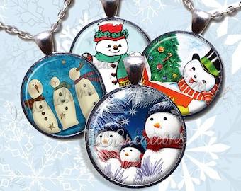 Snowman Winter Theme Glass Pendant Necklace Jewelry Bundle Gift Party Favors Grab Bag Bulk Discount