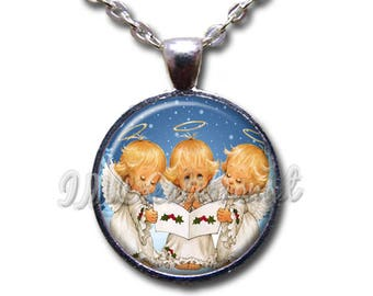 Sweet Little Angels Christmas Glass Dome Pendant or with Chain Link Necklace HD191
