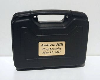 Ring Bearer Briefcase, Ring Bearer Gift, Ring Security, Wedding, Engraved Gift, Gold Plate