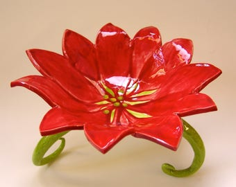 Poinsettia pottery Serving Dish with long curly legs Holiday Home Decor Christmas Buffet or large candy / nut bowl